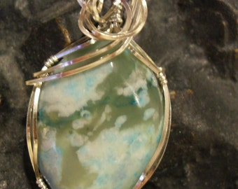 Teal Jade Wire Wrapped Pendant Sterling Silver