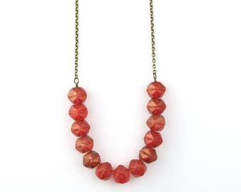 Cranberry Beaded Necklace | Red Beaded Jewelry | Boho Beaded Necklace | Ruby Beads | Strand Necklace | Modern Necklace | Layering