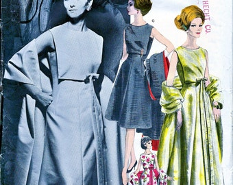 Nina Ricci Designer * RARE * Vogue Paris Original Pattern 1157  -  1960s Cocktail Evening Gown Dress & Stole  - Size 16, Bust 36 * UNCUT