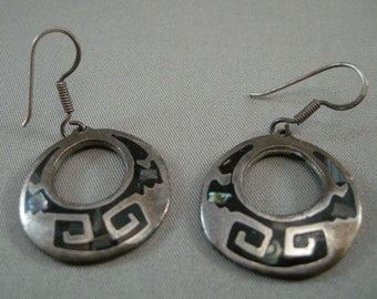 Vintage Mexican Silver Hoop Wire Earrings w/Abalone Shell, Silver Earrings,Sterling Earrings,Mexican Silver, Sterling Hoop Earrings,USA ONLY