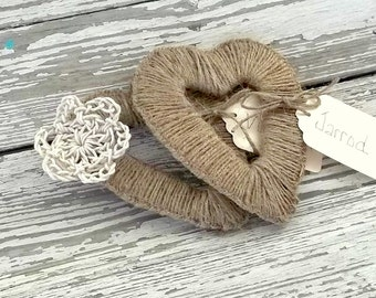 Rustic Wedding Place Card - Rustic Placecard - Heart Place Cards - Set 10 Boho Heart Napkin Ring - Twine - Mini Heart Wreath - Boho Wedding