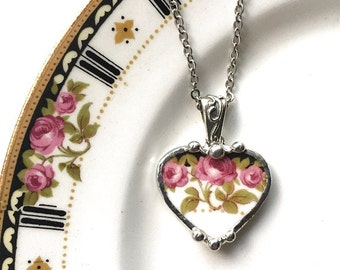 Broken china jewelry -  Nouveau rose trio - broken china jewelry heart pendant necklace
