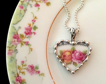 Broken china jewelry beautiful heart pendant broken china jewelry necklace antique pink yellow roses porcelain