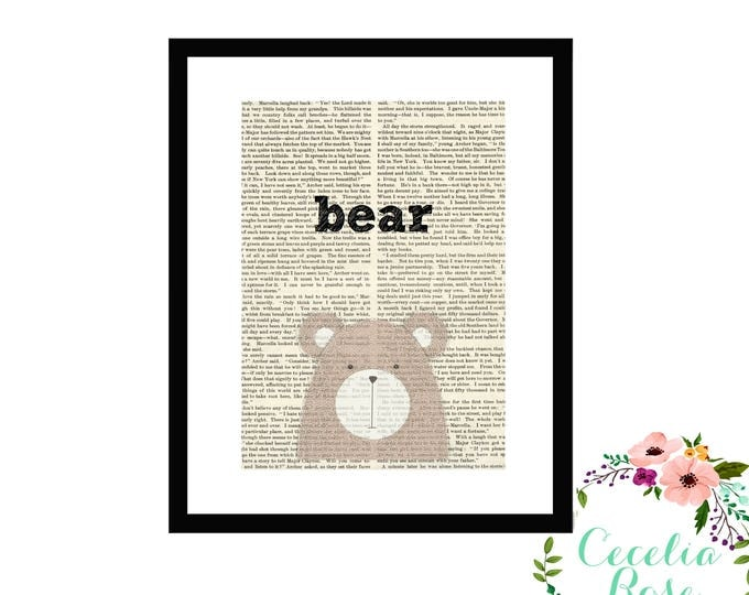 Bear Book Art Vintage Book Art Cute Simple Box Frame or Print
