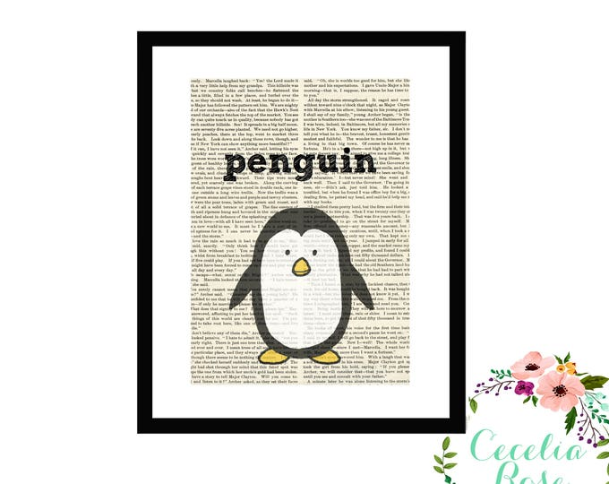 Penguin Book Art Vintage Book Art Cute Simple Box Frame or Print