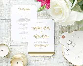 INSTANT Program Template  | Gold Script | Printable Wedding Download | Flat 5x7 Double Sided | Editable Colors | Mac or PC | Word & Pages