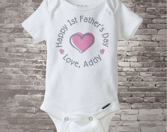 Happy First Father's Day, 1st Fathers Day with Pink Heart Personalized DadTee Shirt or Onesie New Dad Gift (02202014b)