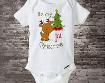 My 1st Christmas Onesie, My First Christmas Shirt, Personalized  My 1st Christmas T-Shirt or Onesie, Reindeer Shirt 11212011a
