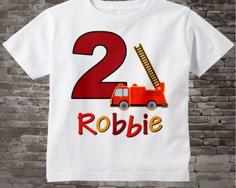Second Birthday Fire Truck Shirt, Personalized 2 year old Fireman Shirt, 2nd Birthday Fire truck Shirt with childs name and age (02162015d)