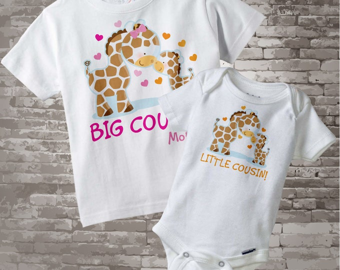 Set of Two Personalized Big Cousin Little Cousin Giraffes Shirt and Onesie Big Girl Cousin and Little Unknown Gender Cousin Onesie 03052014c