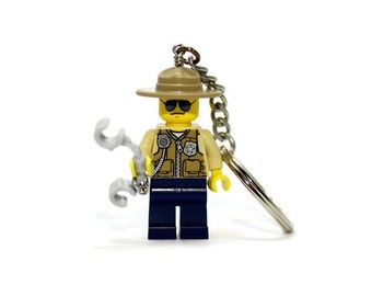 Highway Patrol Keychain - made from new LEGO ® Minifigure, Police Keychain, State Trooper Keychain