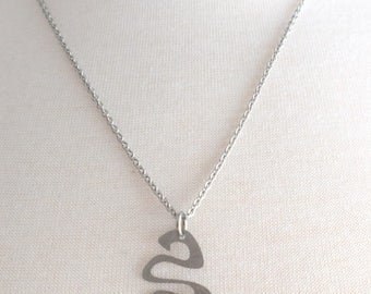 Brushed Stainless Steel Squiggle Necklace, Snake Pendant, Silver Necklace, Stainless Steel Necklace, Stainless Chain, Silver Necklace