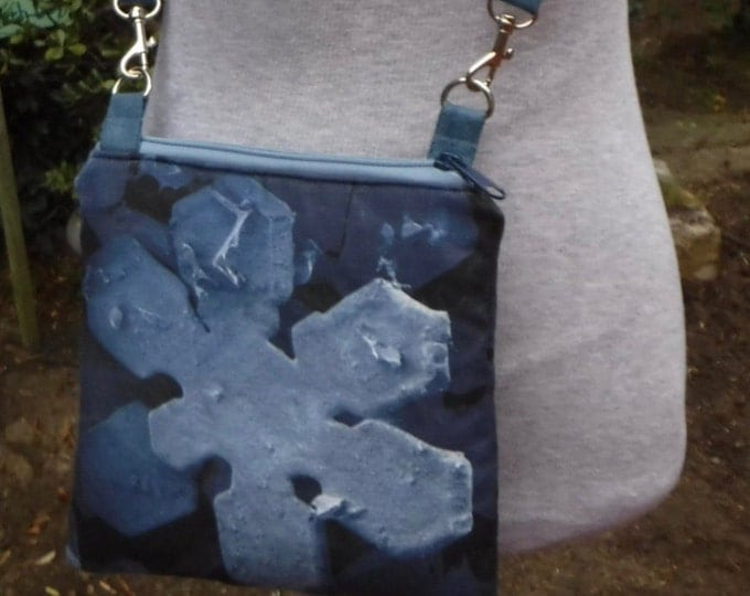 custom SEM snowflake- Cotton-linen Canvas cross body bag/purse hipster Custom Print