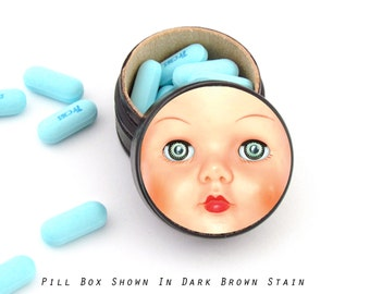 Vintage Doll Face Pill Box - Doll Non Toxic Vitamin Box - Tooth Fairy Container - Vintage Doll Face Powder Box -  Doll collector Gift