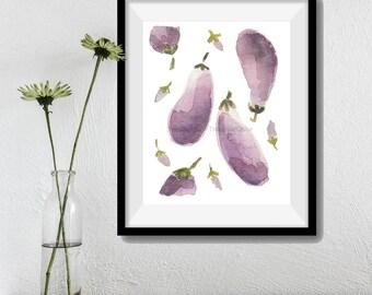 Eggplants art print, Aubergine watercolor print, kitchen art, Purple lilac, eggplants art, limited edition, home decor