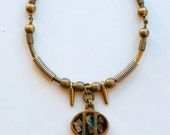Reserved for Christina, 2nd payment : 1970s Grecian brass choker with stone enamel inlay pendant
