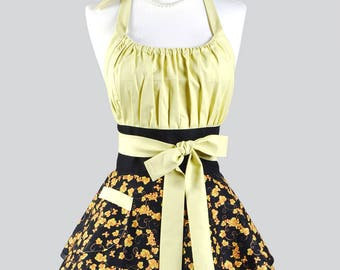 Womens Flirty Chic Apron - Black Bountiful Leaves Cute Retro Vintage Style Pinup Kitchen Cooking Apron with Full Skirts and Empire Waist