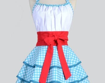 Womens Flirty Chic . Dorothy Blue Gingham Cute and Sexy Vintage Pinup Retro Woman Cosplay Kitchen Apron