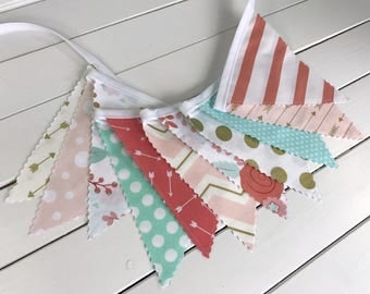 Bunting Banner,Girl Nursery Decor,Home Decor,Blush Pink,Mint Green,Gold,Coral Pink,Gold Nursery,Feather,Flowers,Floral,Arrows