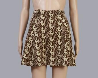 UNIQUE Vintage 60s Brown Knit Skirt | Baby Deer Fawn | Kitschy Kawaii 1960s A-line Skirt | Mod Mini Skirt | Medium M 29 waist