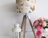 Wooden Table Lamp with Poetic Butterfly Fabric Lampshade. - Desk Lamp - Industrial Design - Reading Lamp - Tripod Lamp