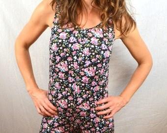 Fun 80s Spandex Floral Unitard Leotard Onesie Hot Shorts
