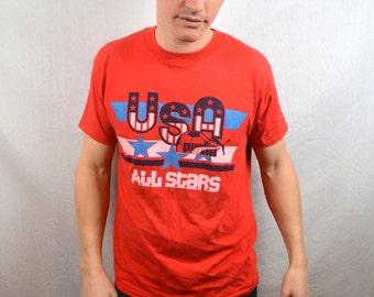 Vintage 80s Red Puma USA Soccer All Stars Tshirt Tee Shirt
