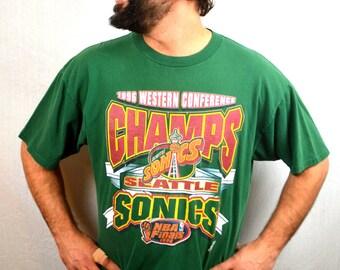 Vintage 1990s Seattle Supersonics Green Sonics NBA Tee Shirt TShirt