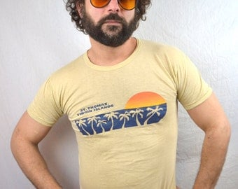 Vintage St Thomas 80s Sunset Thin Soft Tshirt Tee Shirt