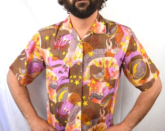 Vintage 80s Celestial Sun Stars Moon Astrological Sign 90s Silk Button Up Shirt - Bogari
