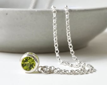 Sterling Silver Bezel Set Peridot Necklace / Small Peridot Solitaire Pendant / August Birthstone Necklace / 16 inch / 18 inch/ 20 inch