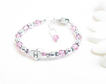 Baby Girl Bracelet // Baby Bracelet // Baby Monogram Bracelet // Little Girl Bracelet // Child Birthstone Bracelet // Flower Girl Bracelet