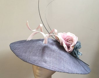 Beautiful Denim Blue Pointed Saucer with Quills, Twists and Flowers, It can be made in any colour