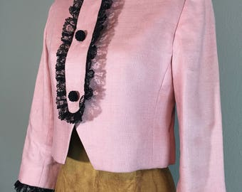 Vintage 60's Cropped Suit Jacket Pink & Ruffled Black Lace S