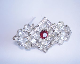 Signed Weiss Clear Red  Rhinestone Brooch Silver Tone