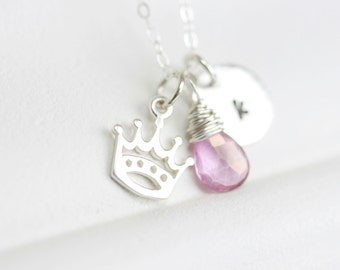 Princess Necklace - Princess Crown Necklace - Personalized Queen Necklace - Royal Necklace - Custom Letter Birthstone - Sterling Silver