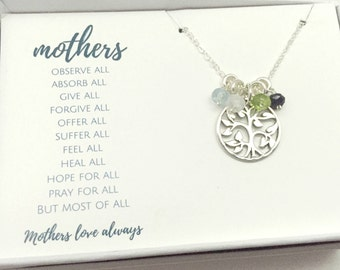 Birthstone Necklace for Mom - Family Tree Mothers Necklace - Gift for Mum - Family Necklace - Personalized Silver Birthstone Necklace