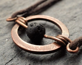 Copper Circle Necklace with Lava Stone