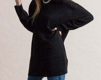 Vintage 90s Black Metallic Ribbed Knit Tunic Sweater
