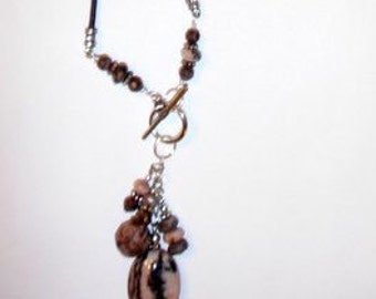 Leather Necklace Kit- Leopardskin Jasper