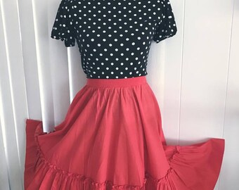 Vintage Tomato Red Ruffle Trim Circle Skirt -- Retro -- Rockabilly -- Size L-XL