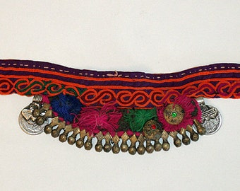 FREE SHIPPING! Old, Tribal, Banjara, Choker, Headpiece, Embroidery, Vintage, Gypsy, Belly Dancing, India, Ethnic, Boho, Hippie, Rajasthan