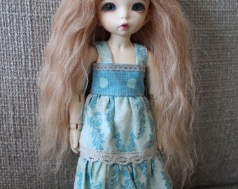 Long Light Auburn mohair wig for Littlefee / other YoSD sized / Unoa / Enyo doll