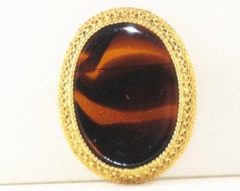 Vintage Florenza Brown Tortoise Art Glass Brooch Pin (B-2-6)