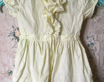 Vintage infant/toddler pale yellow ruffled 1950s dress 12-18m
