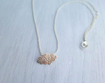 Cloud necklace sterling silver, dream big, cloud pendant, adventurer, nature inspired, celestial jewelry, memorial jewelry,