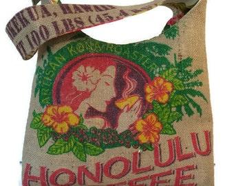 MTO. Custom. Island Girl Slouch Hobo Handbag. Repurposed Honolulu Coffee Company Coffee Sack. Handmade in Hawaii.