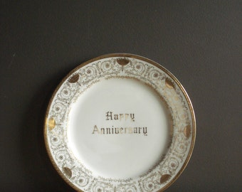 Vintage Happy Anniversary Plate - White and Gold Gift Plate