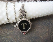 Typewriter Key Jewelry - Typewriter Necklace Letter T
