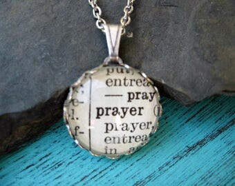 Dictionary Necklace - Prayer - Round Pendant